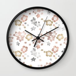 Rose Gold Copper Bronze Tropical Flowers Multi Metallic Wall Clock