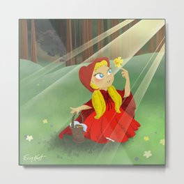 Little Red Riding Hood Picking Flowers For Grandma! Metal Print