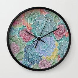 Watercolor Succulents Wall Clock