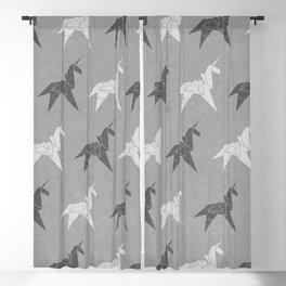 Origami Unicorn Grey Blackout Curtain