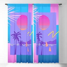 Memphis pattern 80 - 80s / 90s Retro / summer palm tree Blackout Curtain