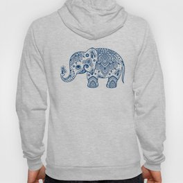 Blue Floral Paisley Cute Elephant Illustration Hoody
