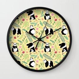 Panda pattern yellow Wall Clock