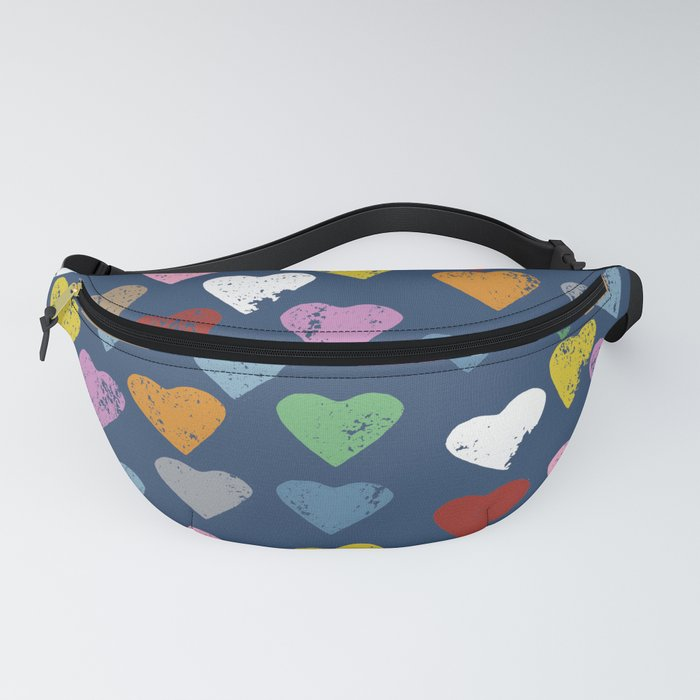 Distressed Hearts Heart Navy Fanny Pack