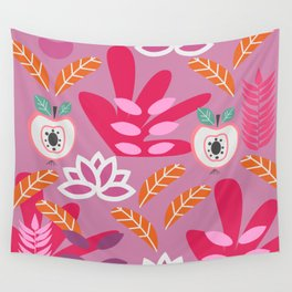 Apples and plants in shades of pink Wall Tapestry