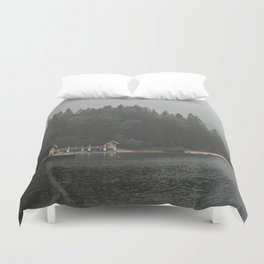 Foggy mornings at the lake II - landscape photography Duvet Cover