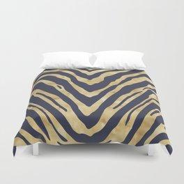 Zebra Stripes in Glam Blue and Gold Duvet Cover