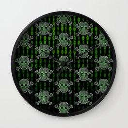 Hacker Skull Crossbones (pattern version) Wall Clock