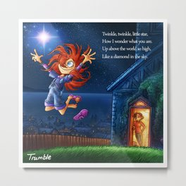 """Twinkle Twinkle"" Page Sample (Mother Goose Retold, Trumble Book) Metal Print"