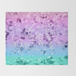 Unicorn Girls Glitter Stars #1 #shiny #decor #art #society6 Throw Blanket