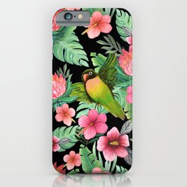 Tropical Palm Lovebird Floral iPhone Case