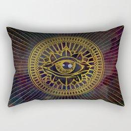 All Seeing Mystic Eye Gold on Nebula Sky Rectangular Pillow