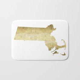 massachusetts gold foil state map Bath Mat