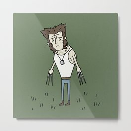 Sad Wolf Dude in a Field Metal Print