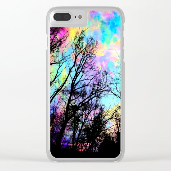 Black Trees Colorful space. Clear iPhone Case