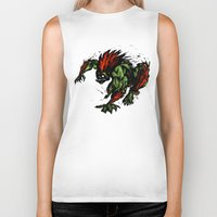 street fighter Biker Tanks featuring Blanka Rush! - Street Fighter by Peter Forsman