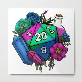 Pride Polysexual D20 Tabletop RPG Gaming Dice Metal Print