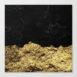 Rough Gold Torn and Black Marble Canvas Print