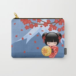 Japanese Red Sakura Kokeshi Doll on Blue Carry-All Pouch