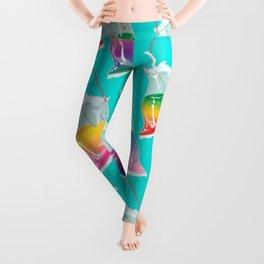 takeaway rainbows pattern, cyan Leggings
