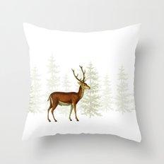Wandering deer in the trees Throw Pillow