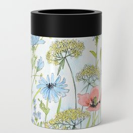 Floral Watercolor Botanical Cottage Garden Flowers Bees Nature Art Can Cooler