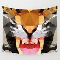 geo Wall Tapestries featuring Tiger - Geo by Three of the Possessed