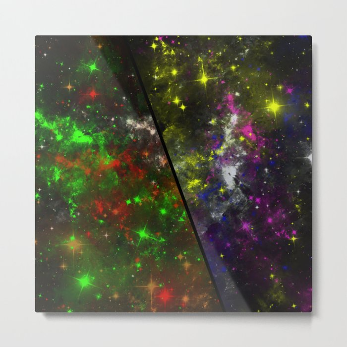 Parallel Universe - Split 'space' artwork showing 2 opposing galaxies Metal Print