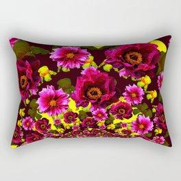 GRAPHIC MODERN DARK FUCHSIA & YELLOW FLORALS Rectangular Pillow