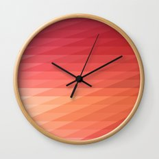 Fig. 044 Coral, Pink & Peach Geometric Diagonal Stripes Wall Clock