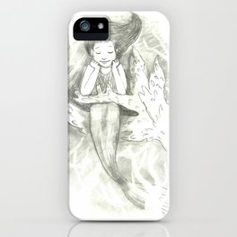 little mermaid on a branch of coral iPhone Case