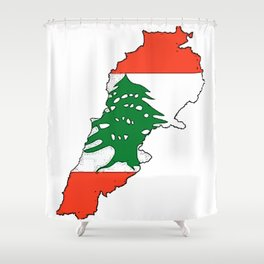 Lebanon Map with Lebanese Flag Shower Curtain