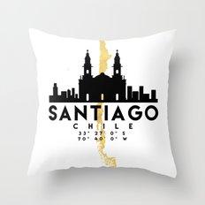 SANTIAGO DE CHILE SILHOUETTE SKYLINE MAP ART Throw Pillow