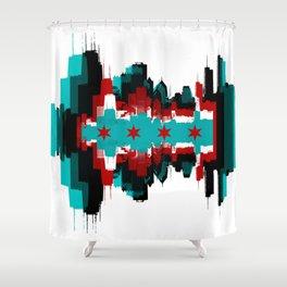 Chicago Flag Skyline Shower Curtain