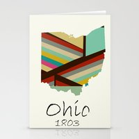 ohio state Stationery Cards featuring Ohio state map by bri.buckley