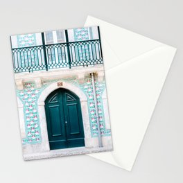 The green door | Lisbon Portugal architecture | Fine art travel photography print Stationery Cards