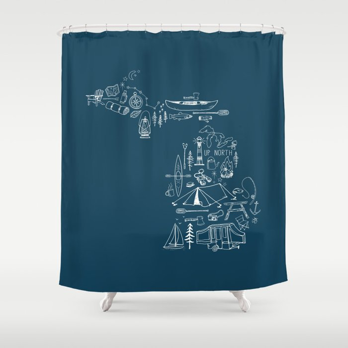 Michigan Up North Navy Collage Shower Curtain