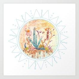 Cactus and Sun Art Illustration Art Print