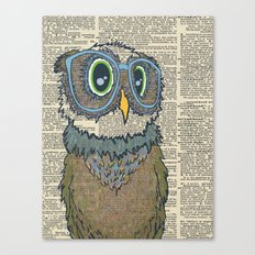 Owl wearing glasses Canvas Print
