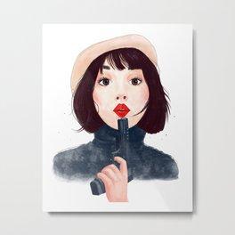 French woman with gun Metal Print