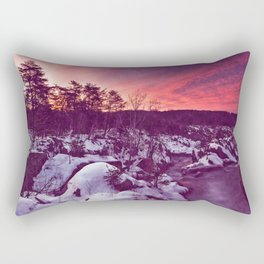 Great Falls Winter Twilight - Violet Velvet Fantasy Rectangular Pillow