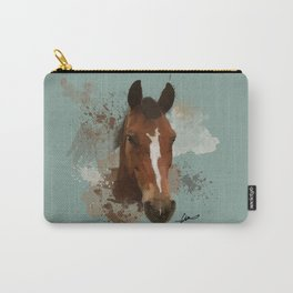 Brown and White Horse Watercolor Light Carry-All Pouch