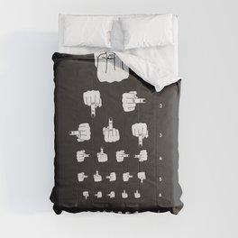 MIDDLE FINGER VISION TEST in black Comforters