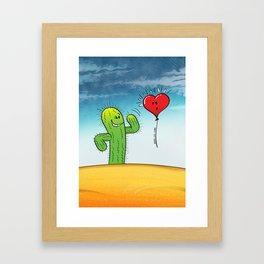 Spiky Cactus Flirting with a Heart Balloon Framed Art Print