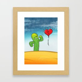 Spiky Cactus Flirting with a Heart Balloon Framed Art Print