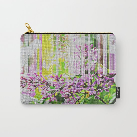 White Washed Painted Lilac Carry-All Pouch