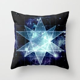 Galaxy Sacred Geometry : Stellated Icoshadron Blue Throw Pillow