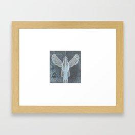 Blue angel guardian Framed Art Print