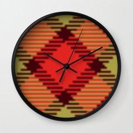Red, Black & Gold Plaid Wall Clock