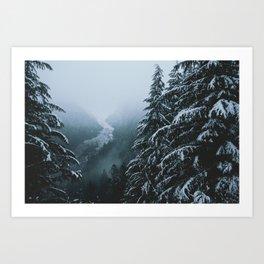 Snowy Winter River Art Print